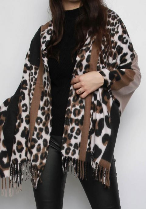 Animal Print Cashmere Scarf Tan